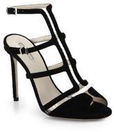 Giorgio Armani T-Strap Suede & Translucent Sandals