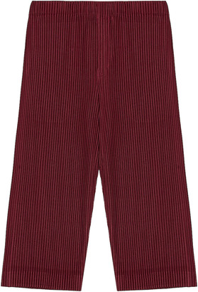 Homme Plissé Issey Miyake Colorful Pleat Crop Straight Pant in Wine Red   FWRD
