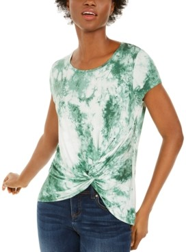 INC International Concepts Inc Tie-Dye Twist-Front T-Shirt, Created for Macy's