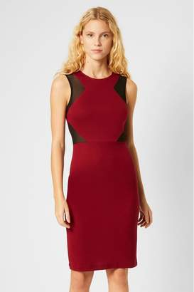 French Connection Womens Red Manhatten Jersey Sleeveless Panelled Dress - Red