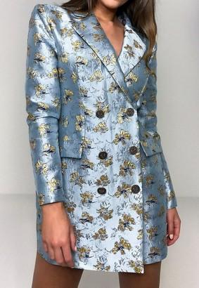 Missguided Blue Floral Brocade Blazer Dress