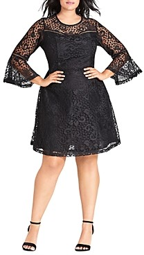 City Chic Plus Gypsy Bell-Sleeve Lace Dress