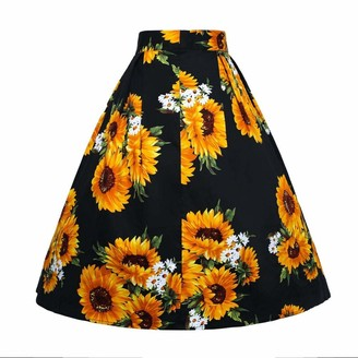 LAPLE Women's Dress Vintage A-line Pleated Print Pleated Trumpet Mid-Length Skirt (Sunflower XL)