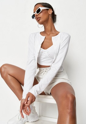 Missguided White Cardigan And Bralet Co Ord Set