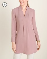 Chico's Chicos Petite Satin Notched-Collar Tunic