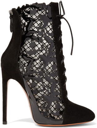 Alaia Mesh, Suede And Laser-cut Patent-leather Ankle Boots