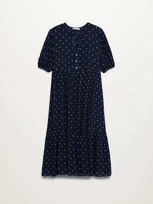 MANGO Polka Dot Midi Dress - Navy