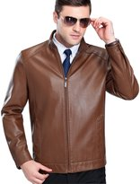 Tanming Men's Business Casual Stand Collar Genuine Lambskin Leather Jacket