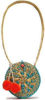 Sophie Anderson Pompom-embellished Straw Shouldr Bag