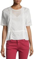 The Great The Manor Lace-Inset Top, Off White
