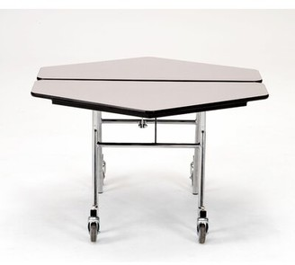 """48"""" Hexagon Cafeteria Table National Public Seating Frame Finish: Chrome, Tabletop Color: Fusion Maple"""