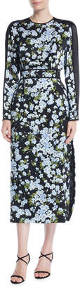 Escada Long-Sleeve Floral-Print Hammered Silk Midi Dress w/ Chiffon Inset