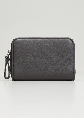 Brunello Cucinelli Pebbled Leather Zip Wallet with Monili Strap