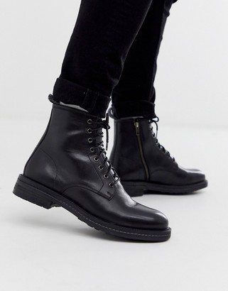 Walk London wolf lace up boots in black leather