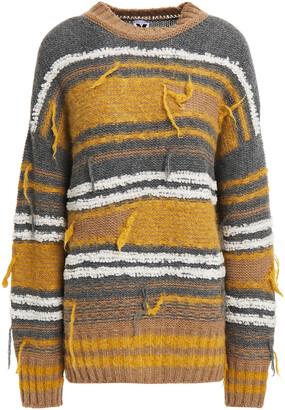 M Missoni Distressed Jacquard-knit Wool-blend Sweater