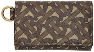 Burberry Brown Monogram E-Canvas Small Finn Wallet