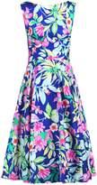 Jolie Moi Retro Print Belted Swing Dress