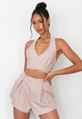 Missguided Stone Co Ord Halter Neck Wrap Crop Top