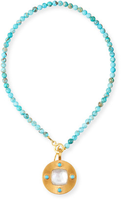 Dina Mackney Detachable Mother-of-Pearl Necklace with Jasper and Turquoise