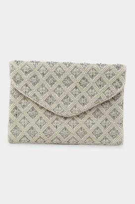 francesca's Oakley Beaded Envelope Clutch - Ivory