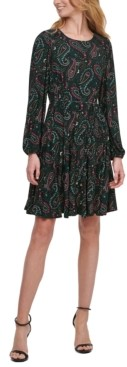 Tommy Hilfiger Petite Paisley-Print Fit & Flare Dress