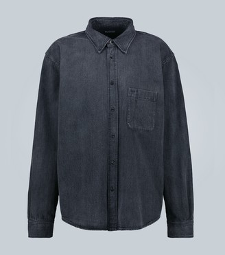 Balenciaga Washed denim overshirt with logo