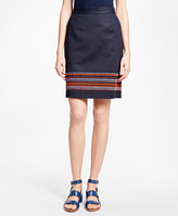 Brooks Brothers Embroidered Stretch Cotton Skirt