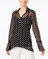 INC International Concepts Bell-Sleeve Sheer Blouse, Created for Macy's
