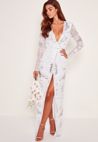 Missguided Bridal Sequin Wrap Maxi Dress White