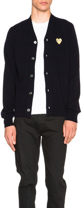 Comme des Garcons Cardigan with Gold Emblem in Navy | FWRD