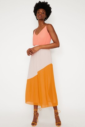 Warehouse Multi Colourblock Pleated Dress