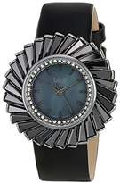 Burgi Women's BUR114BK Swiss Quartz Crystal Accented Mother-of-Pearl Silver Black Leather Strap Watch