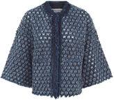Sonia Rykiel Indigo Textured Denim Cropped Jacket