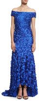 Theia Off-The-Shoulder Petal-Appliqué Gown, Cobalt