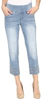 Jag Jeans Baker Pull-On Crop Comfort Denim in Blue Issue w/ Embroidered Hem