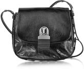 MM6 Maison Martin Margiela Black Cracked Leather Shoulder Bag