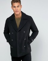 Asos Wool Mix Peacoat In Black