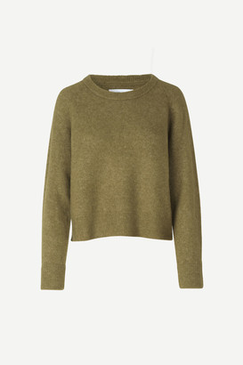 Samsoe & Samsoe Nor on Short Green Khaki Sweater - wool | khaki | l - Khaki