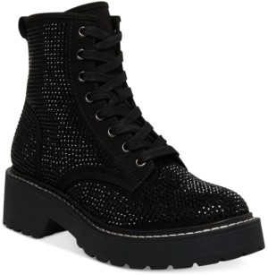 Madden-Girl Carra Lace-Up Rhinestone Combat Boots