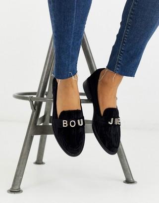 Asos Design DESIGN Melody embellished flat shoes in black