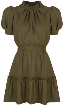 Alice + Olivia Vida puff sleeve ruffle dress