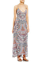 Billabong Places To Be Printed Lace-Up Back Maxi Dress