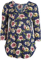 Celeste Navy Floral Crisscross Tunic - Plus