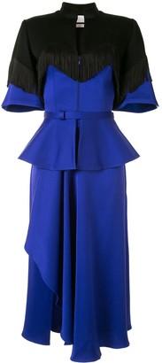 Fringed-Hem Peplum Dress