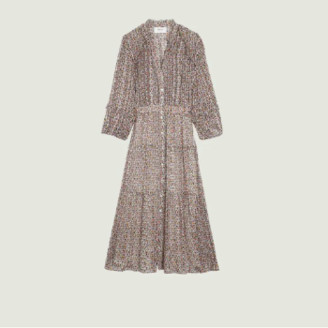 BA&SH BA & SH - Multicolor Fancy Pattern Lurex Dean Shirt Dress - 0 | Multicolor | viscose
