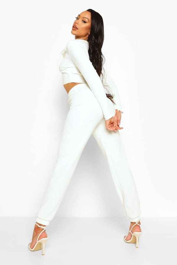 Thumbnail for your product : boohoo Crinkle Rib Exposed Seam Crop And Joggers