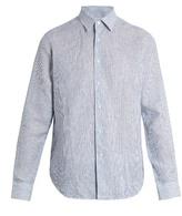 Loewe Point-collar striped linen shirt