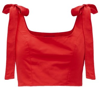 STAUD Rogan Bow-tied Cotton-blend Cropped Top - Red