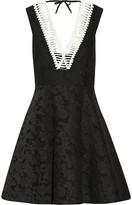 Sandro Rhythm pleated embroidered mesh mini dress