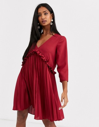 Asos Design DESIGN pleated smock mini dress-Red